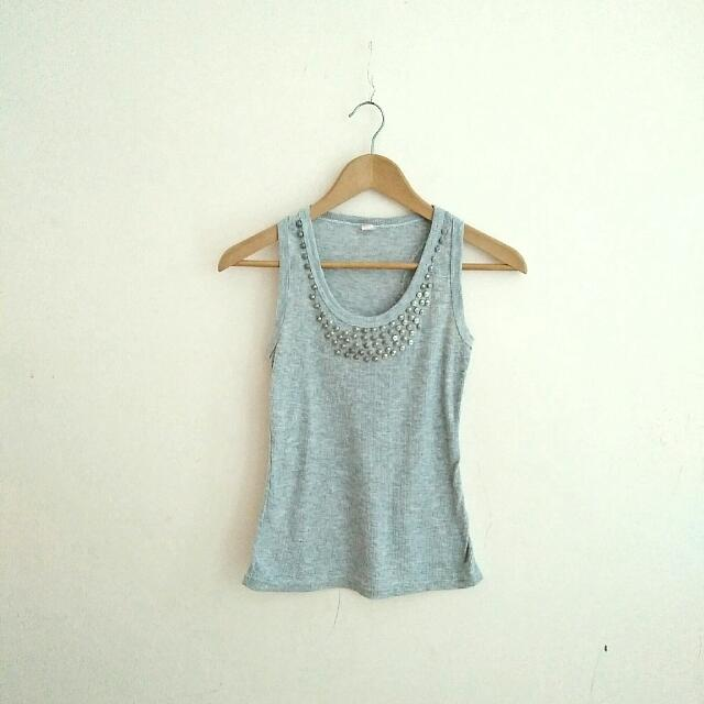Pre-loved Grey Tank Top With Metal Beads