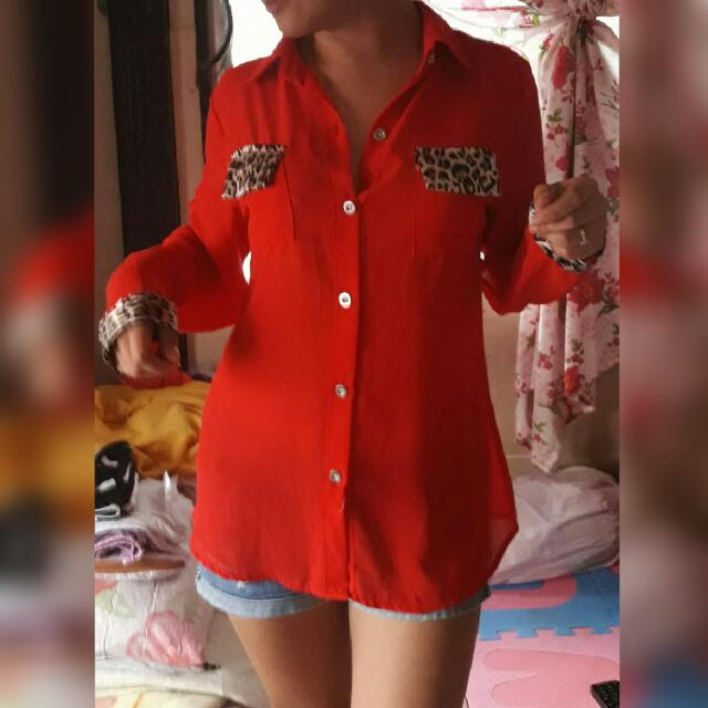 Red long sleeve w/ collar