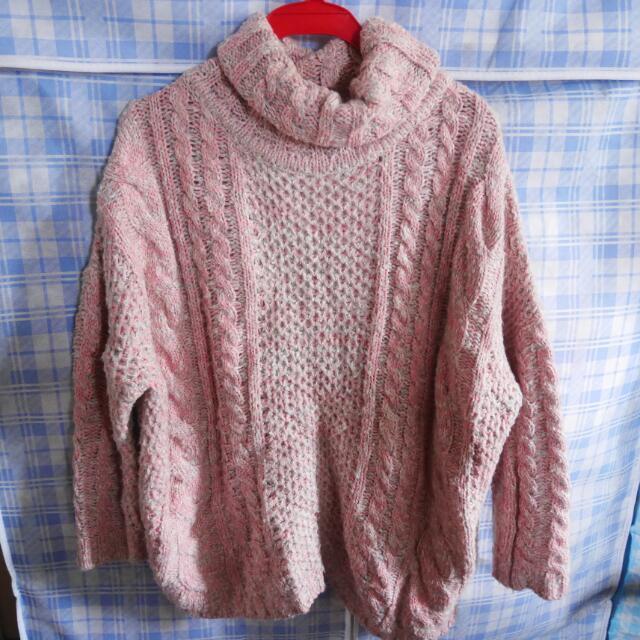 正韓Sammy korea粉色麻花針織毛衣