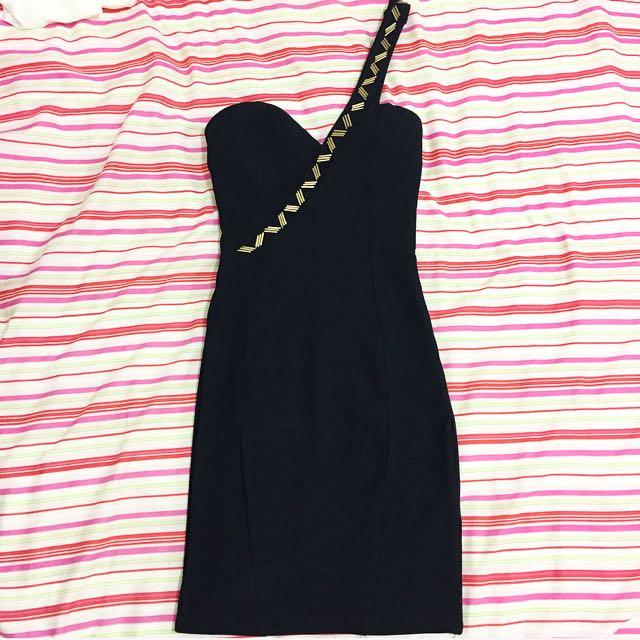 Size 6 Black One Shoulder Dress