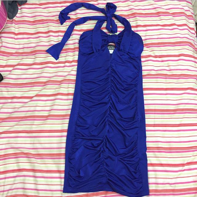 Size 6 Electric Blue Halter Dress