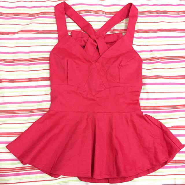 Size 6 Peplum Red Top