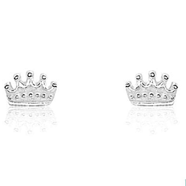 Solid Sterling Silver Gorgeous Princess Crown Stud Earrings