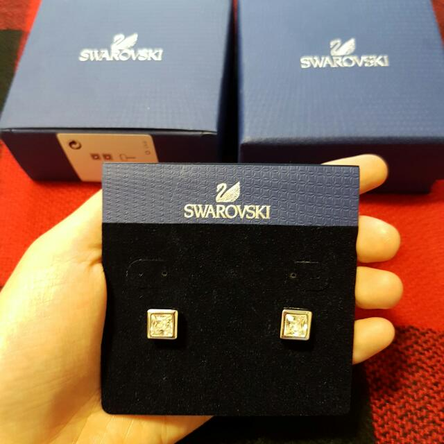 Swarovski Princess Cut Pierced Earrings