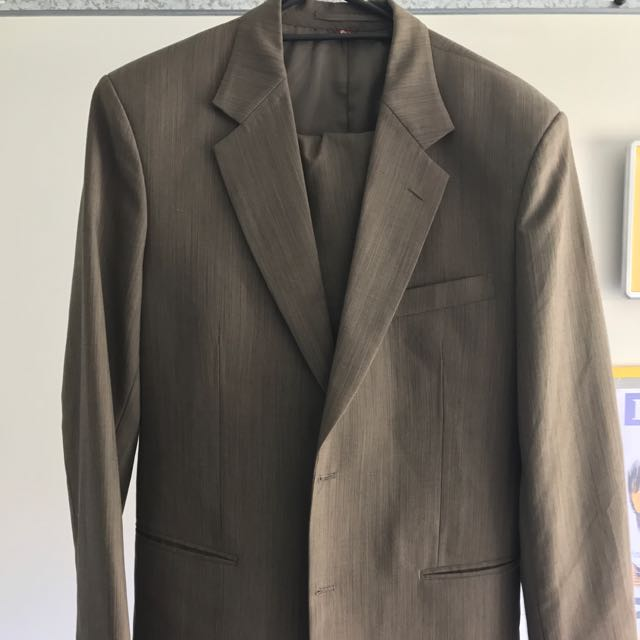 Tailored Pure Wool Men's Suit- Brown
