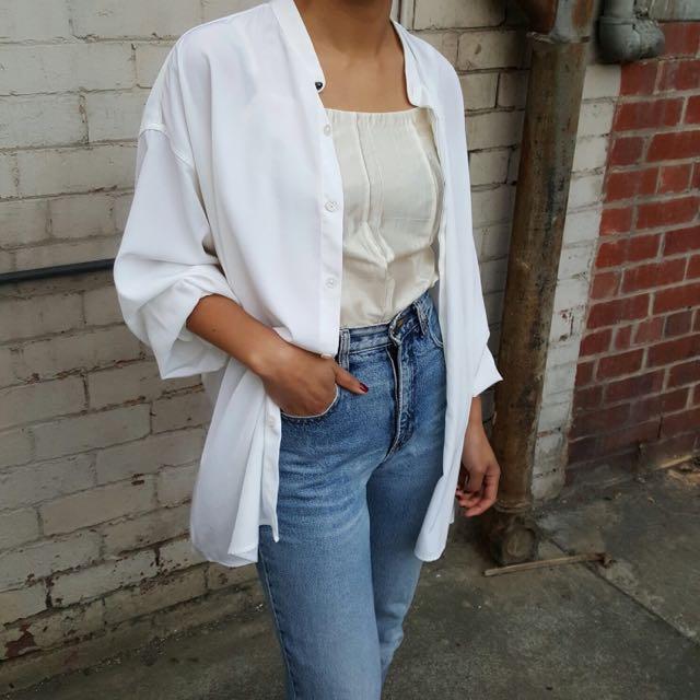 Vintage Mandarin Collar Button Up Shirt