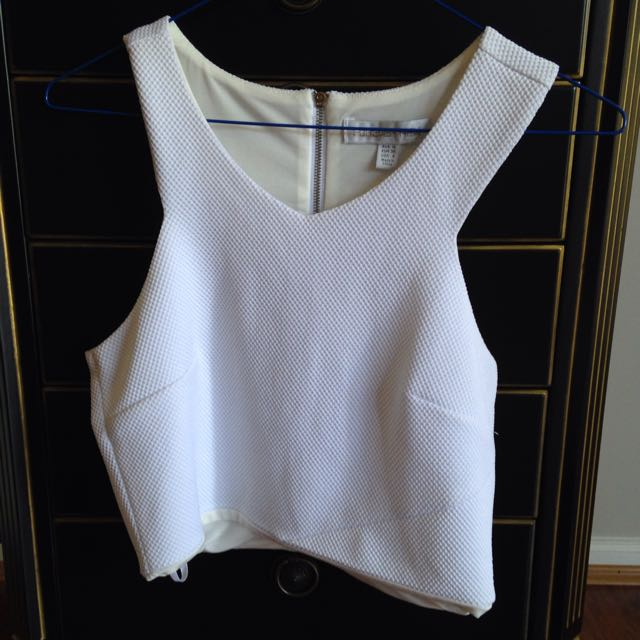White Forever New Formal Crop Top