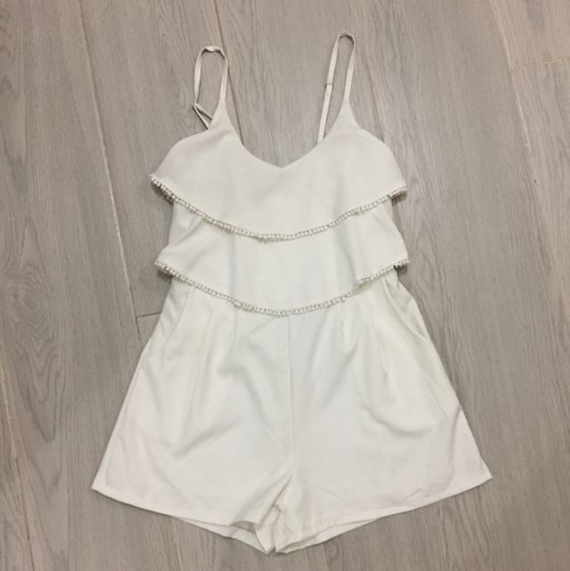 White Women Jumpsuit/playsuit Free Size