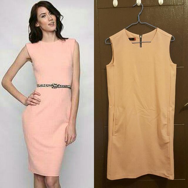 WOMAN Peach Colored Office Attire Dress