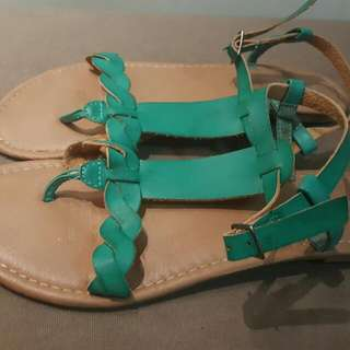 Rubi/Cotton On Green Leather Sandals - Sz 39