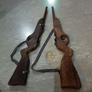 Rare Gun Old School.   Senapang Kayu Peluru Getah