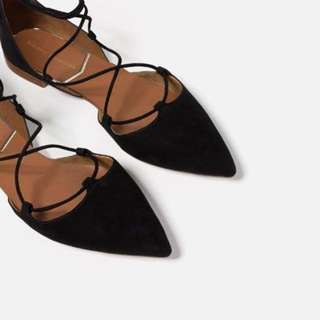 ZARA black Lace Up Flats