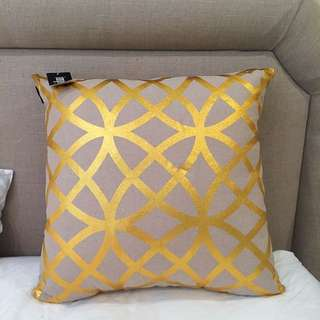 Brand New Gold & Natural Linen Cushion