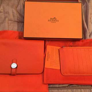 Hermes Leather Dragon Wallet Combo