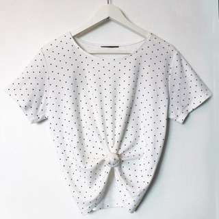 Vintage Polka Dot Crop Shirt