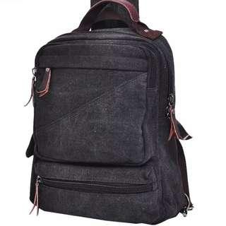 大容量男韓版帆布斜背後背手提包