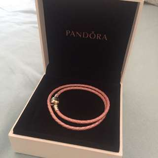 Pandora Pink Woven Leather Bracelet