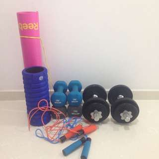 Assorted Weights And Sporting Gear