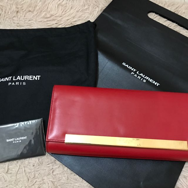「真品•賠售」不議價100%正品Saint Laurent YSL紅色滑面牛皮晚宴包手拿包