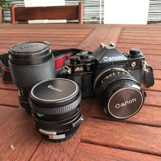 Canon A1 Film Camera With 3 Lens