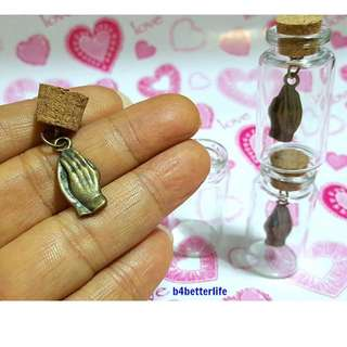#CIB3204BC. Lot Of 3pcs Praying Hand Bronze Tone Metal Charm In A Mini Glass Bottle With Cork.