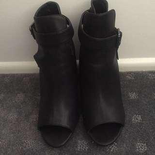 Open Toe Black Boots Size 9