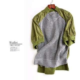 外套-灰綠色拼接鏤空網眼短袖針織衫