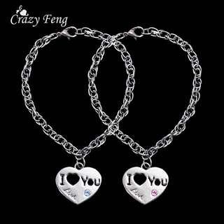 Christmas Gift 2pcs  Sale Items Silver Plated Heart Lock Key Pendant Charm Couple Lovers Bracelet