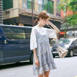 可愛小碎花吊帶裙 連身裙 細肩帶