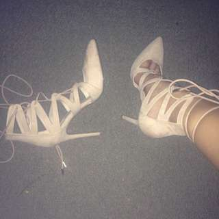 F21 Nude 3.5/4 inch Lace Up Heels