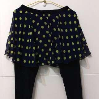 藍底黃點俏麗褲裙
