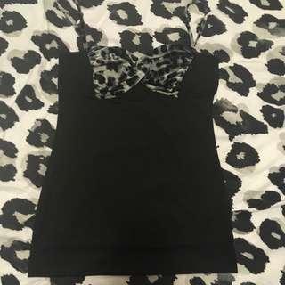 Valley girl Black/Leopard Print Singlet