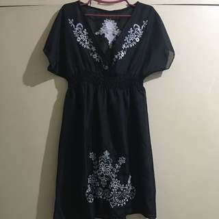 Black Sheer Dress With Embroidered Accent