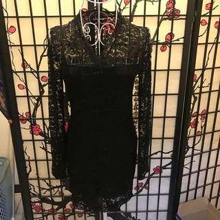 黑色蕾絲長袖洋裝
