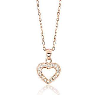 Glamorous Rose Gold Plated Solid Sterling Silver And Cubic Zirconia Necklace