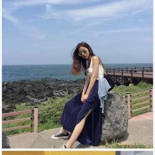 寶藍色造型綁帶設計褲裙