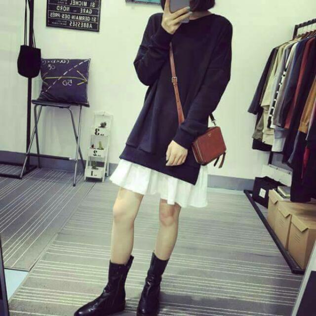 (有現貨)韓版圓領拼接裙擺中長款連衣裙