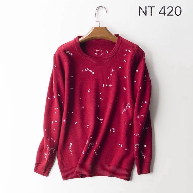 基本款針織毛衣/紅色