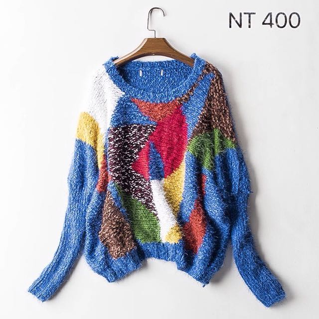 純棉寬鬆毛衣/彩藍色