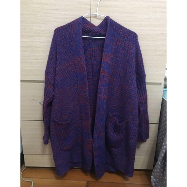 混色針織外套