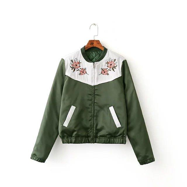 外套-軍綠色刺繡拼接棒球夾克