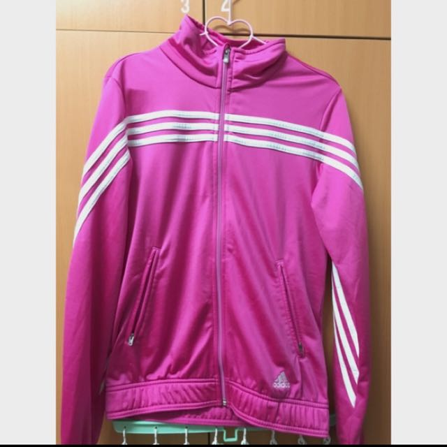 Adidas 小高領 桃紅 運動 外套