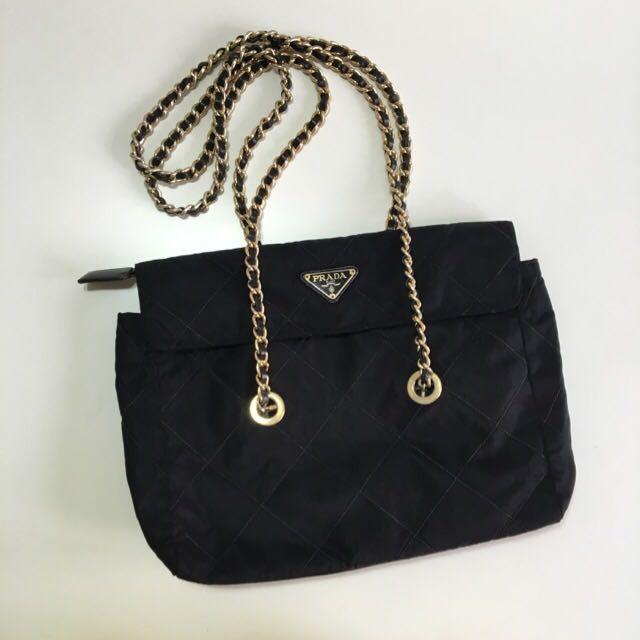 8e9a2124a25b21 Authentic Prada Tessuto Nylon Chain Shoulder Bag, Luxury, Bags ...