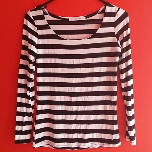 Black And White Stripe Sleeve Shirt