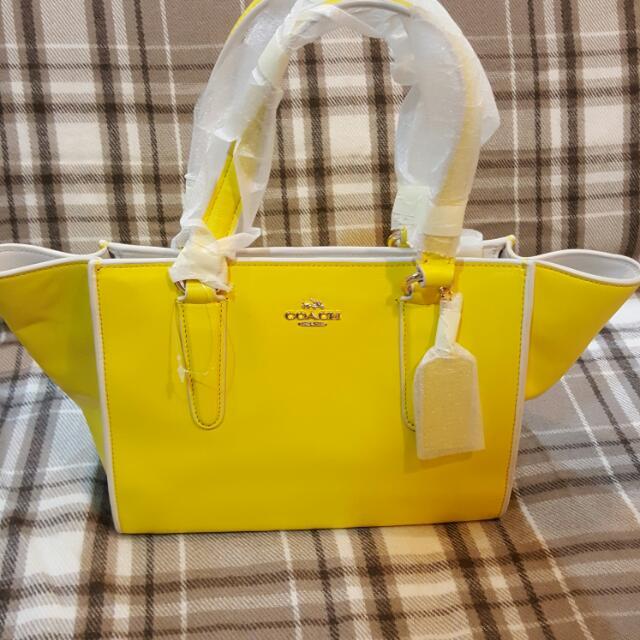 全新COACH 時尚黃色托特包