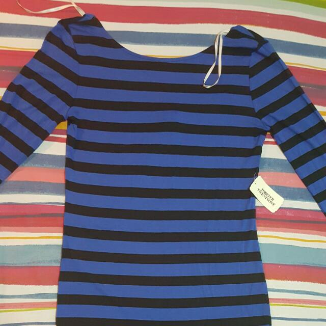 Forever 21 Stripes L/S Mini Bodycon Dress - Sz L