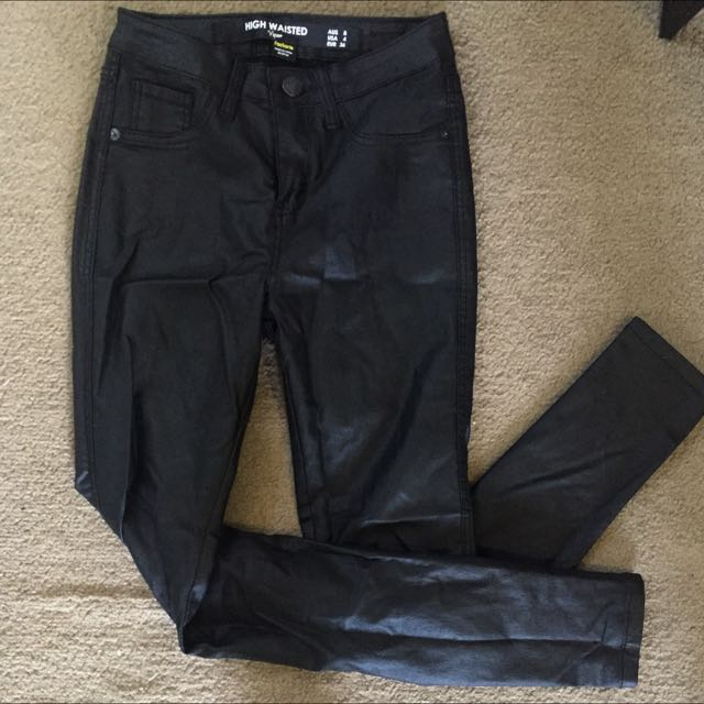 High waisted Pleather Jeans