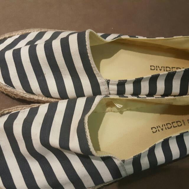 H&M Blue/White Stripes Espadrilles - Sz 39