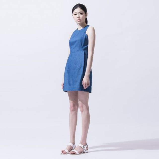 iohll女收腰牛仔洋裝 Water Blue Denim Dress(s)