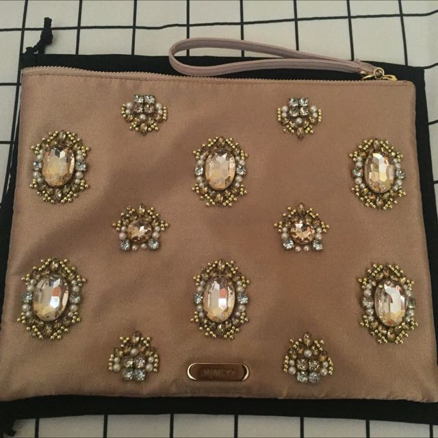 Large MIMCO Zip Clutch Embellished With Jewels